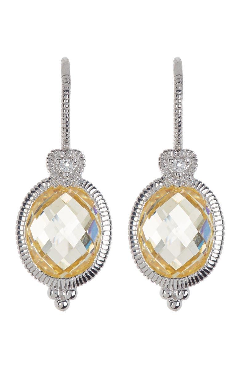 JUDITH RIPKA Silver Oval CZ & White Topaz Drop Earrings, Main, color, CA