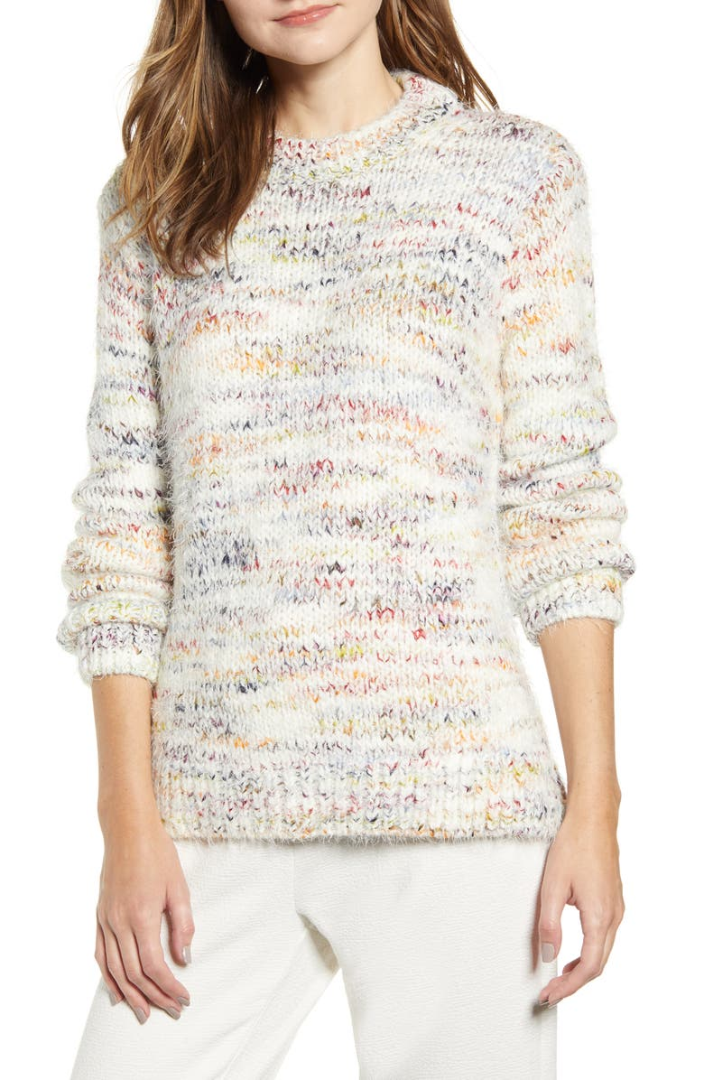 LOU & GREY Confetti Tunic Sweater, Main, color, WHITE MULTI