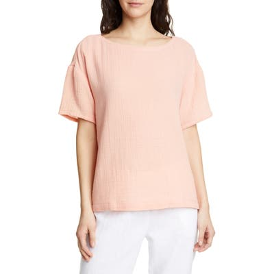 Eileen Fisher Boat Neck Boxy Organic Cotton Top, Coral