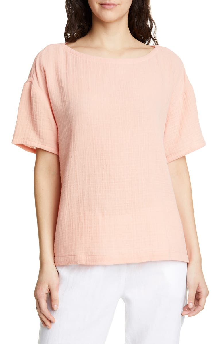 EILEEN FISHER Boat Neck Boxy Organic Cotton Top, Main, color, PEACH
