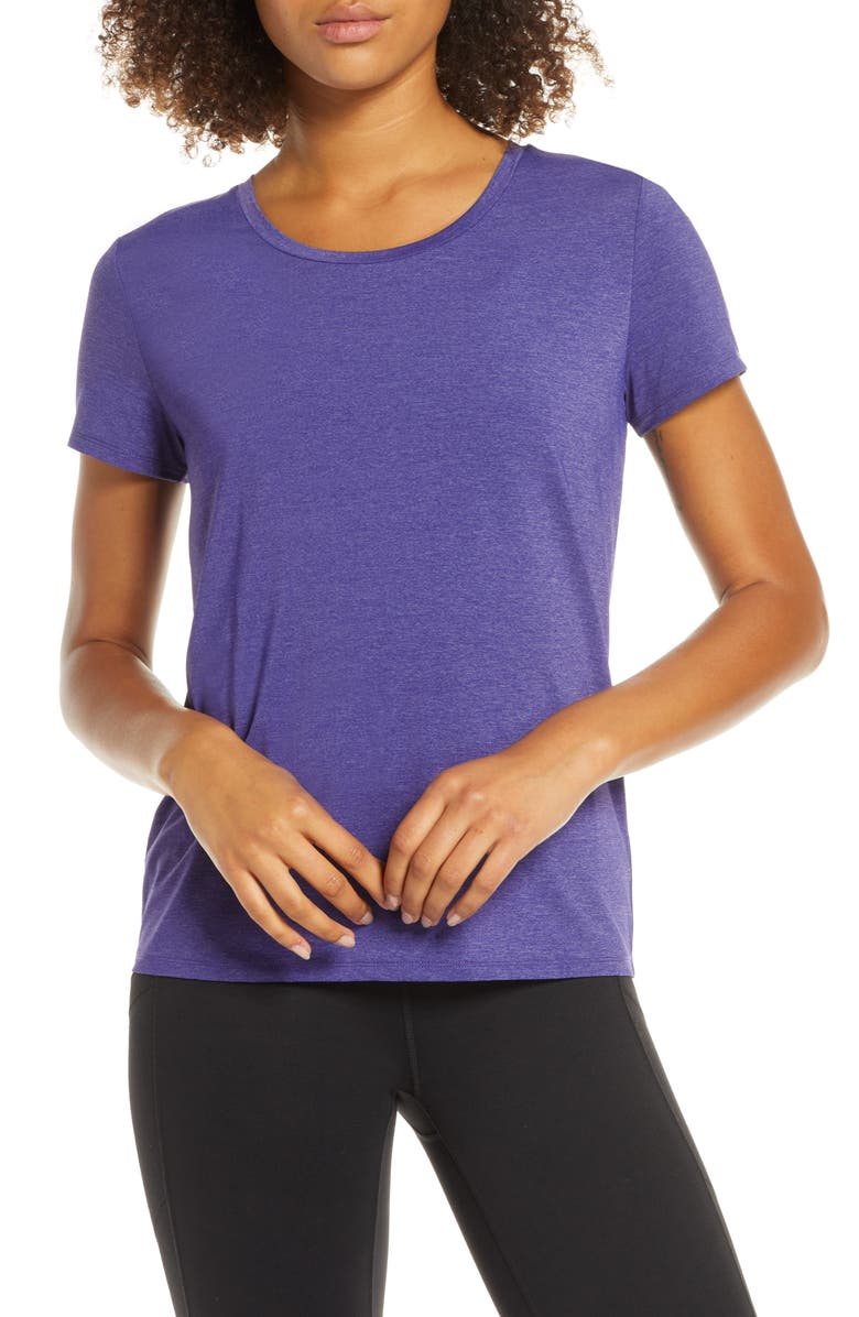 ZELLA Mischa Mesh Back Tee, Main, color, PURPLE WISTERIA