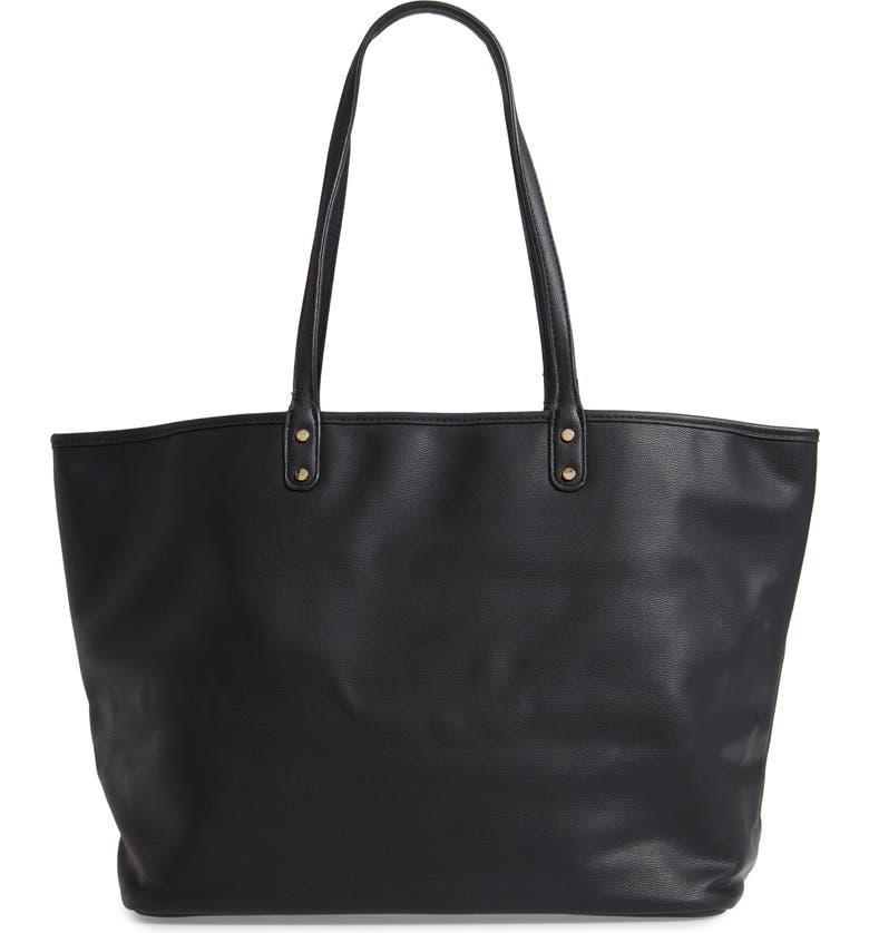 MALI + LILI Reversible Vegan Leather Tote, Main, color, BLACK
