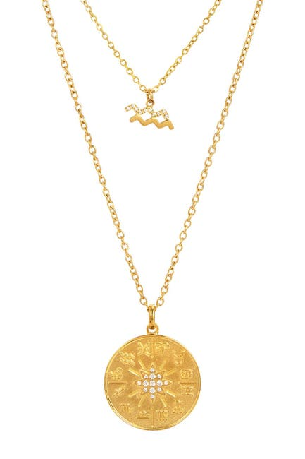 Image of Savvy Cie 14k Gold Plated Sterling Silver CZ Layered Horoscope Necklace