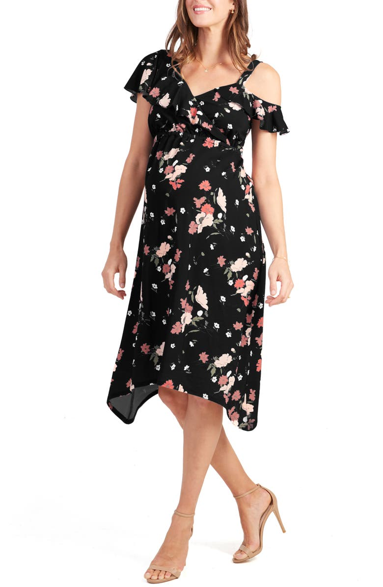 INGRID & ISABEL<SUP>®</SUP> Asymmetrical Ruffle Maternity Dress, Main, color, BLACK ARTIST FLORAL