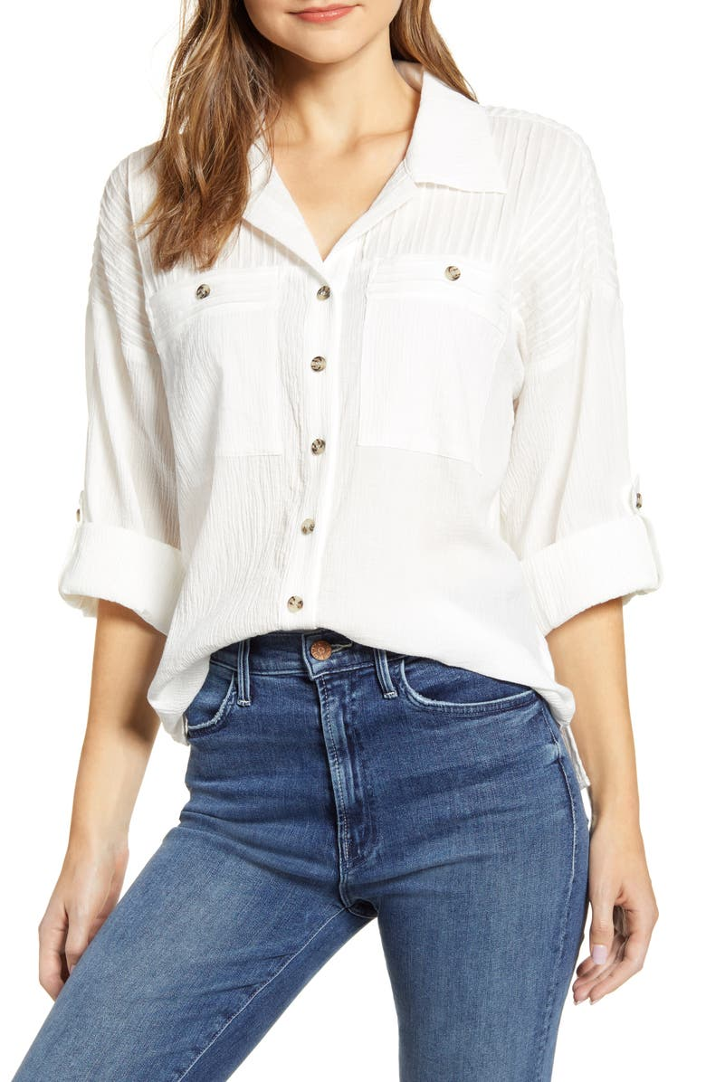WIT & WISDOM Roll Sleeve Shirt, Main, color, OFF WHITE