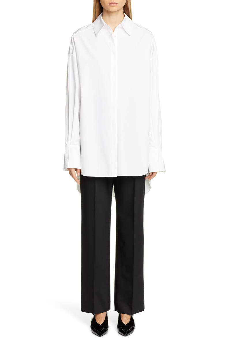 PARTOW Hugo Cotton Poplin Shirt, Main, color, WHITE