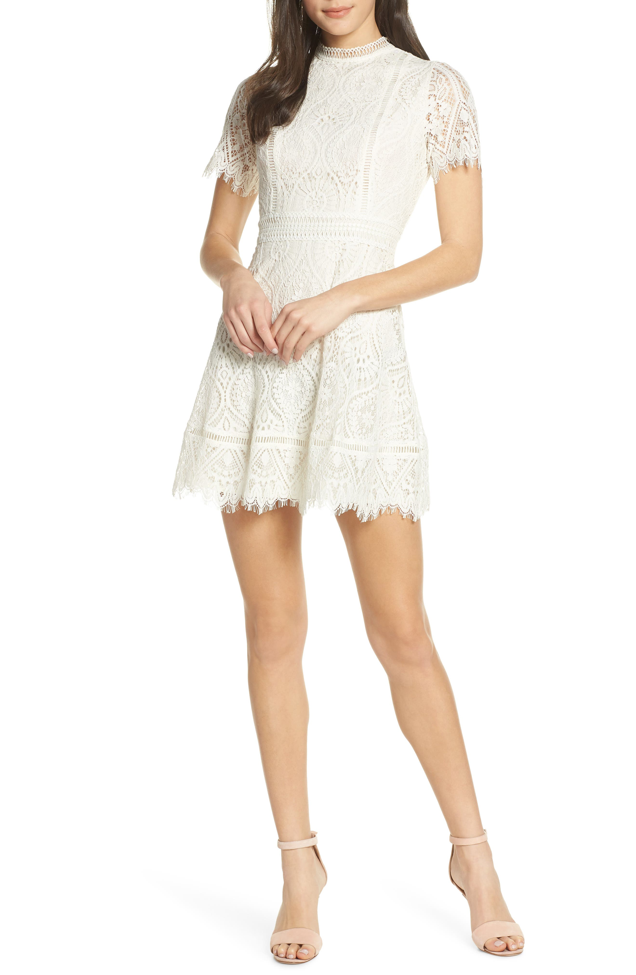 ,                             On List Short Sleeve Lace Fit & Flare Dress,                             Main thumbnail 1, color,                             IVORY