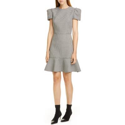 Jason Wu Short Sleeve Houndstooth Dress, Black