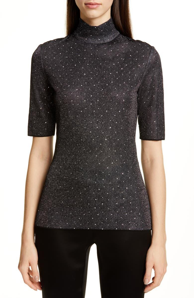 ST. JOHN COLLECTION Diamond Sparkle Knit Sweater, Main, color, CAVIAR