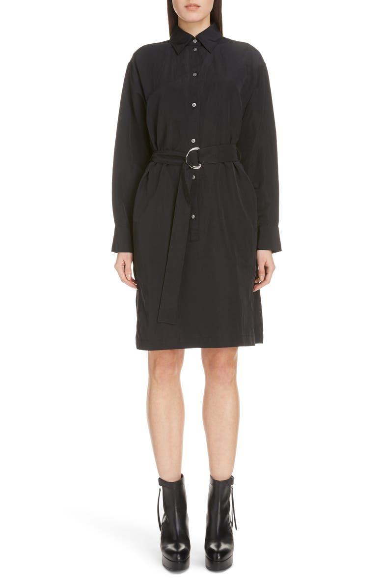 ACNE STUDIOS Damiena Long Sleeve Belted Shirtdress, Main, color, BLACK