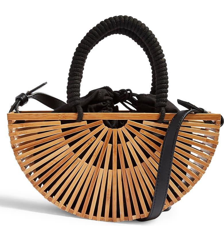 TOPSHOP Crete Wooden Grab Bag, Main, color, NUDE MULTI