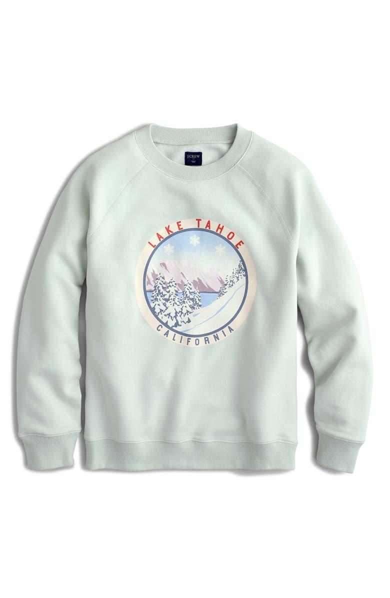J.CREW Lake Tahoe Fleece Sweatshirt, Main, color, SILVER MOSS
