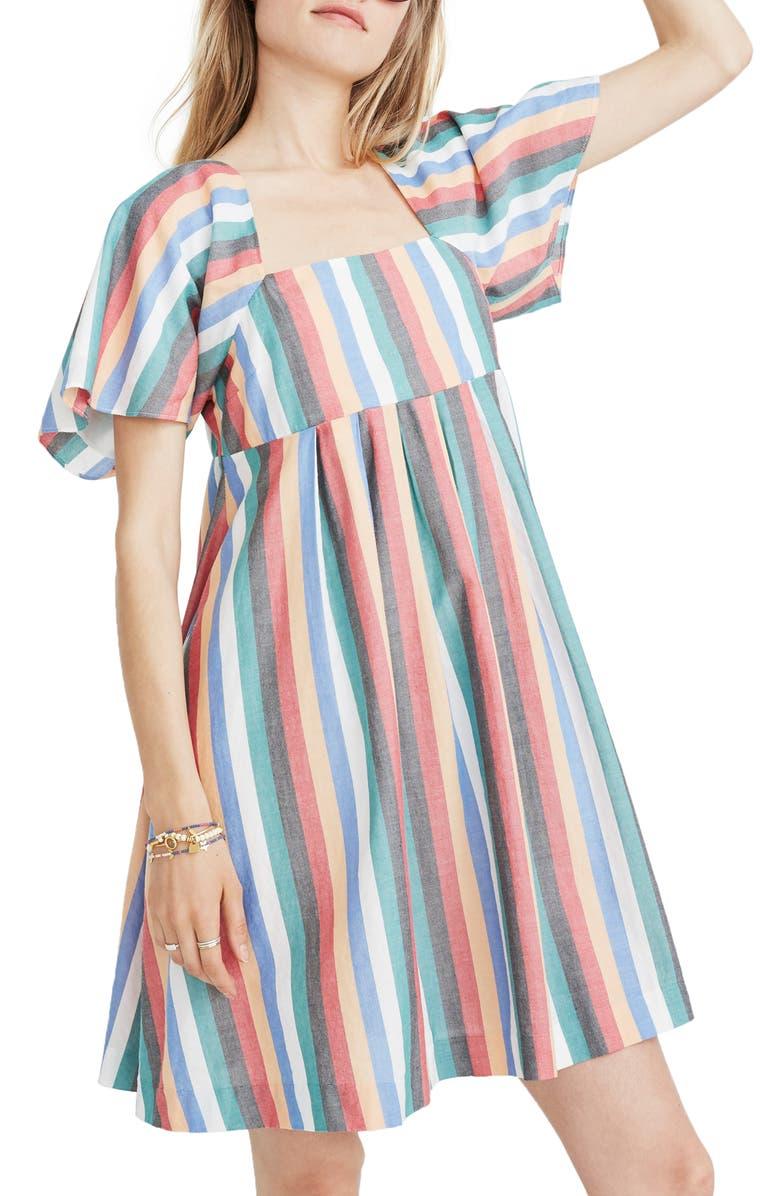 MADEWELL Square Neck Minidress, Main, color, 400