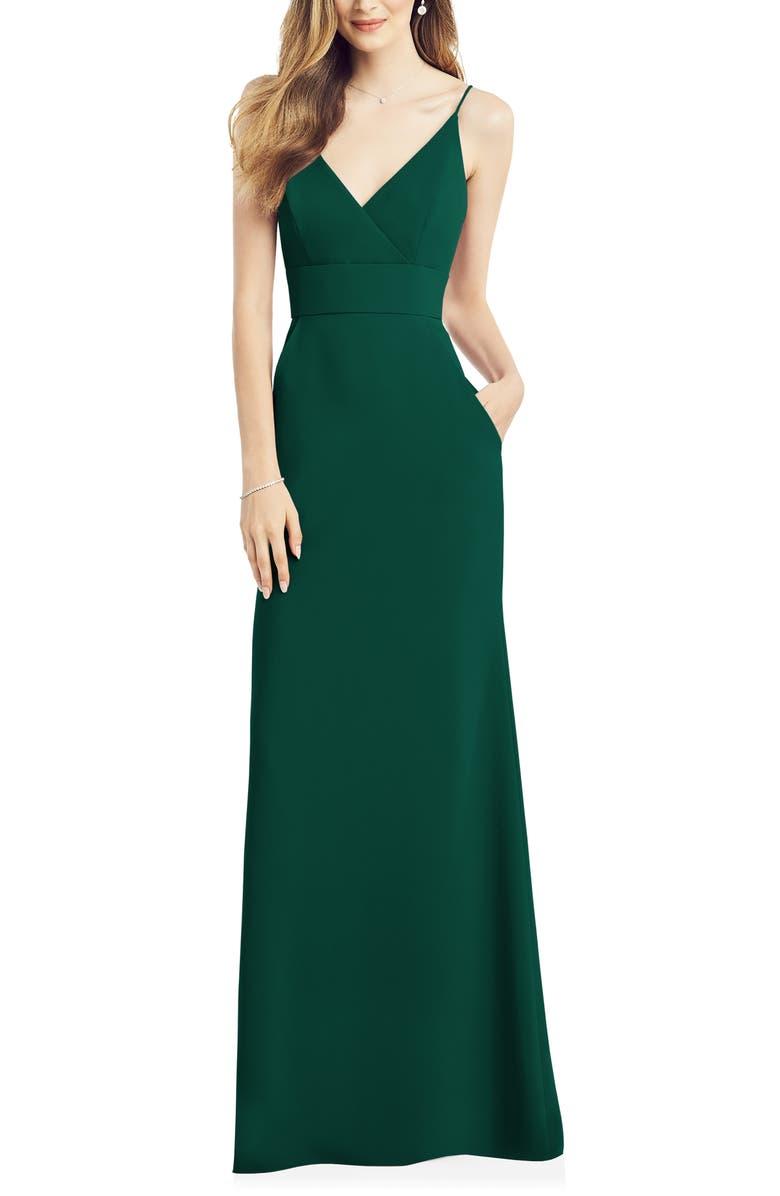 AFTER SIX V-Neck Crepe Gown, Main, color, HUNTER