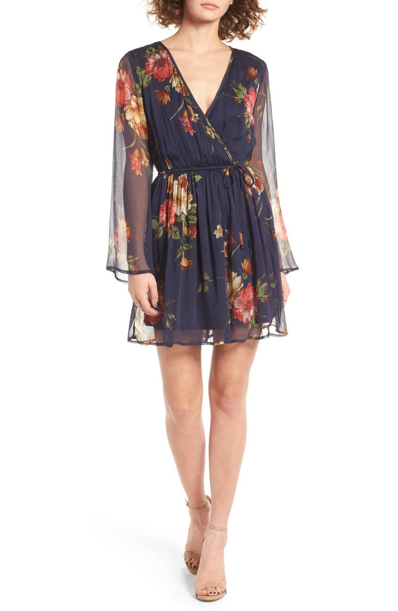 BAND OF GYPSIES Floral Print Surplice Dress, Main, color, 423
