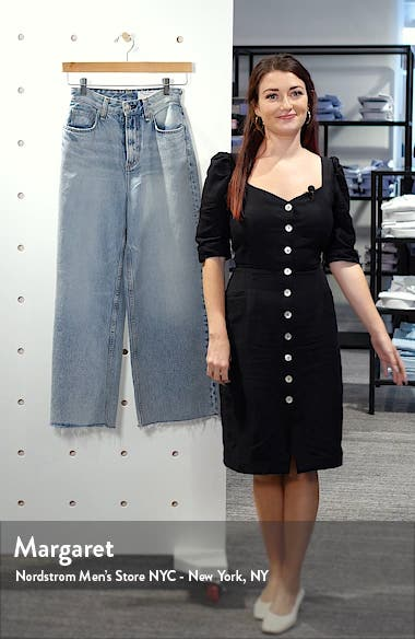 Ruth Super High Waist Raw Crop Wide Leg Jeans, sales video thumbnail