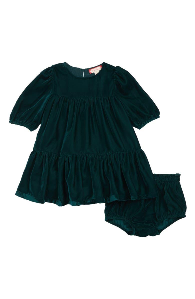 RUBY & BLOOM Tiered Velvet Dress, Main, color, GREEN PONDEROSA