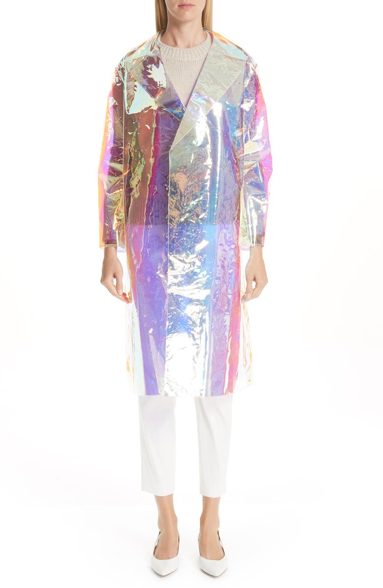 MANSUR GAVRIEL Translucent Iridescent Trench Coat, Main, color, 100