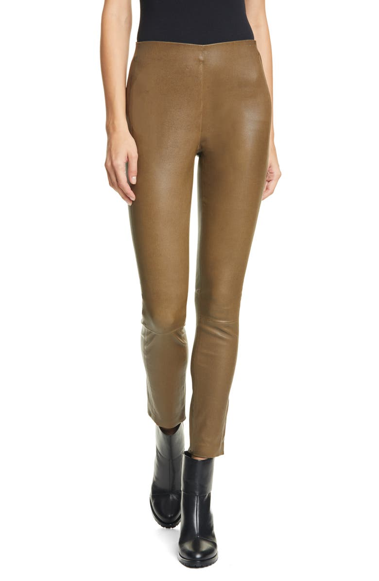 RAG & BONE Simone Lambskin Leather Pants, Main, color, OLIVE