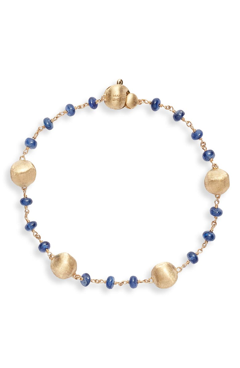 MARCO BICEGO Africa Semiprecious Stone Bracelet, Main, color, SAPPHIRE/ YELLOW GOLD
