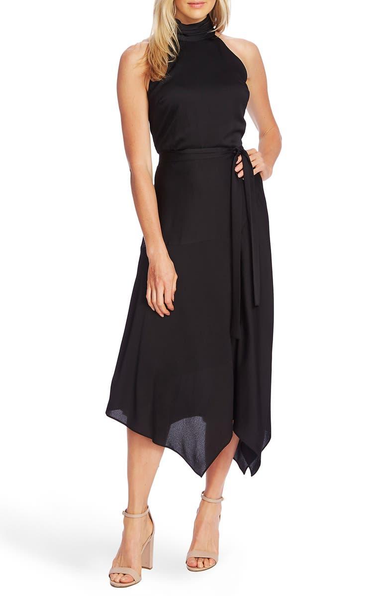 VINCE CAMUTO Hammer Satin Sleeveless Midi Dress, Main, color, RICH BLACK