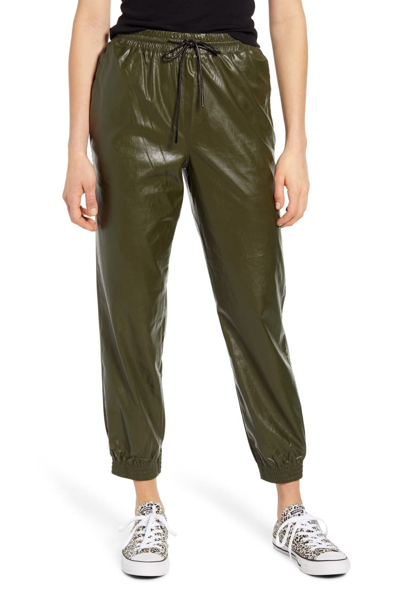 KNOW ONE CARES Faux Leather Jogger Pants, Main, color, OLIVE
