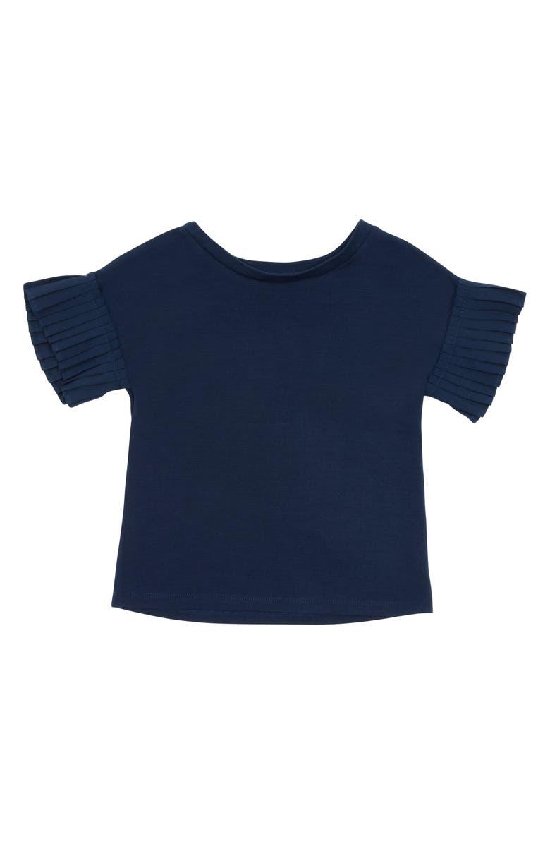HABITUAL Girl Karsyn Pleat Sleeve Detail Top, Main, color, NAVY
