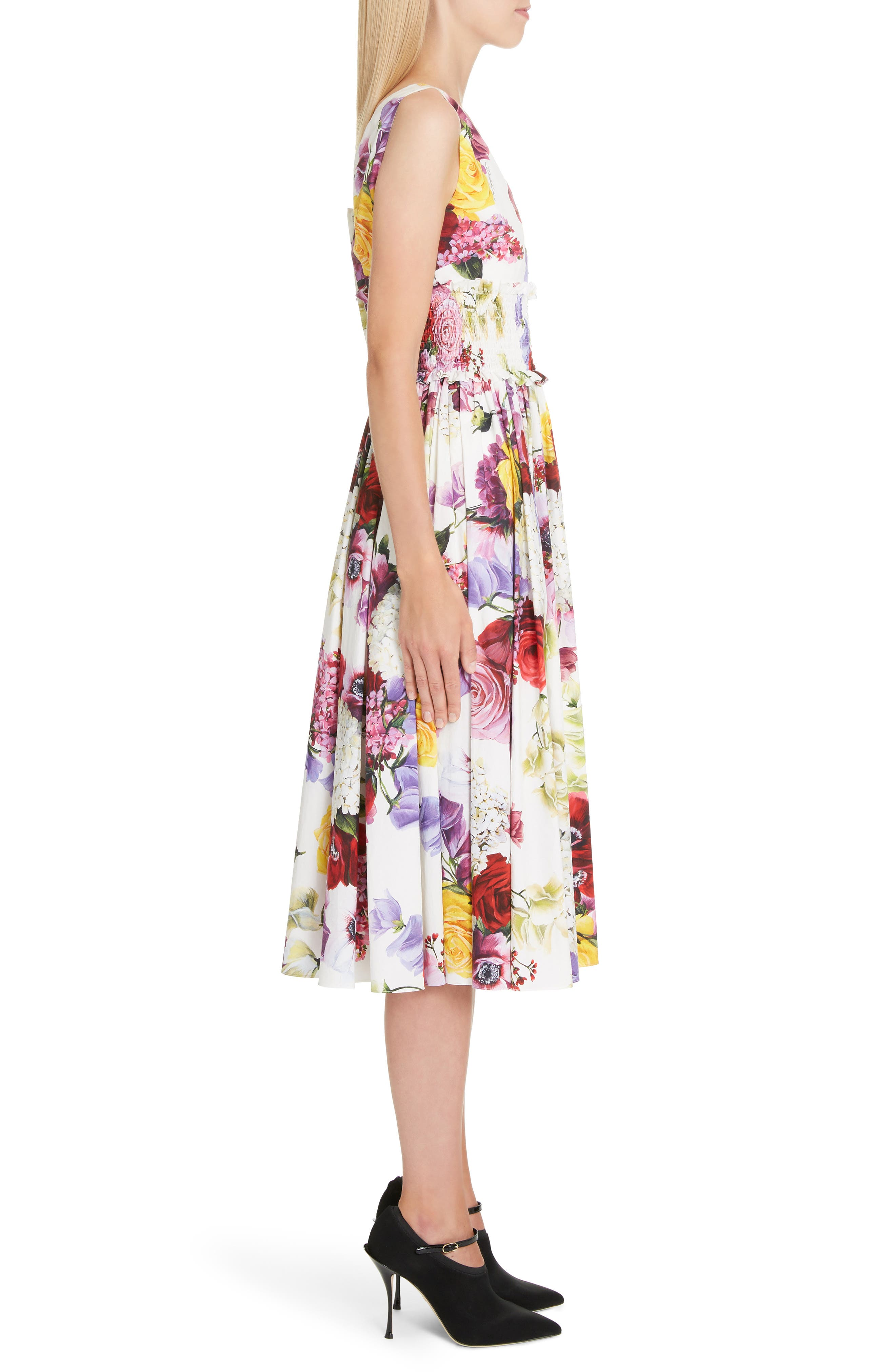 ,                             Floral Print Smock Waist Poplin Dress,                             Alternate thumbnail 3, color,                             PINK FLORAL