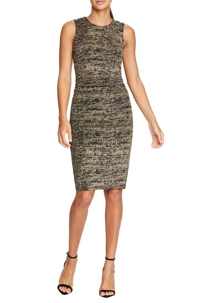 HALSTON HERITAGE Metallic Jersey Midi Dress, Main, color, BLACK/ GOLD METALLIC
