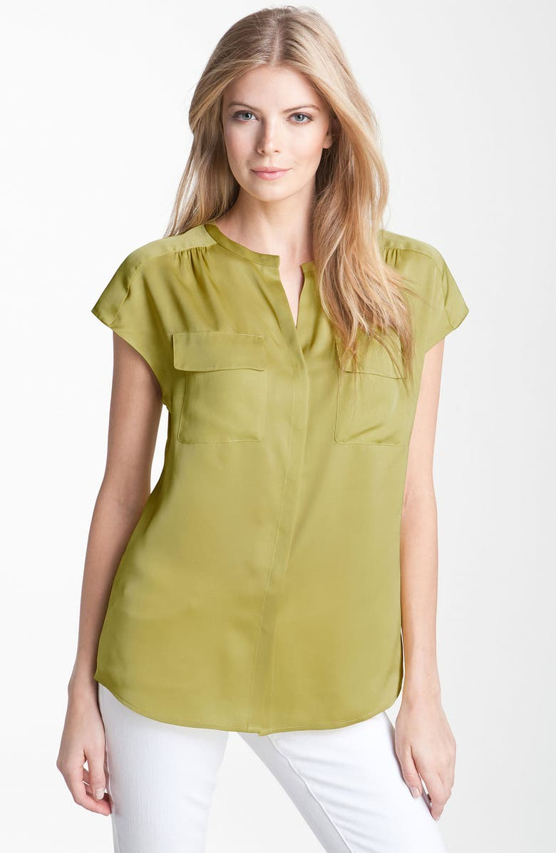 CLASSIQUES ENTIER<SUP>®</SUP> Collarless Silk Chiffon Blouse, Main, color, 710