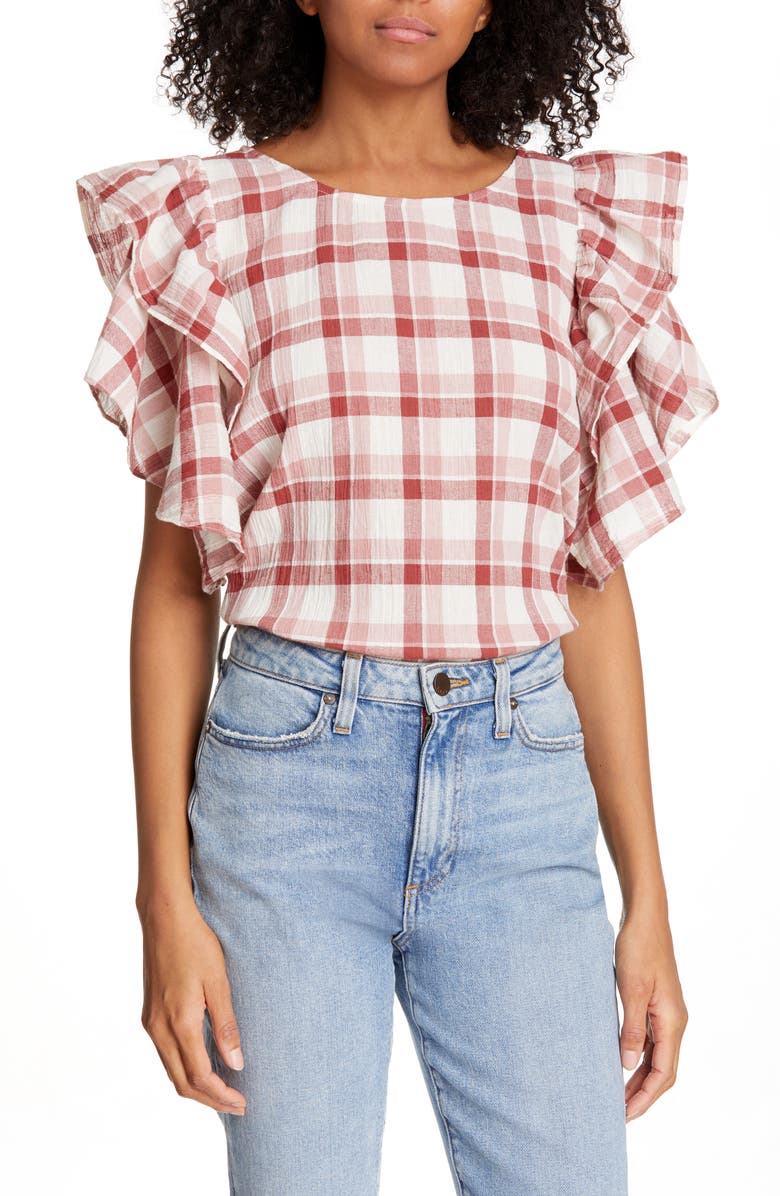 THE GREAT. Whisper Check Cotton & Linen Top, Main, color, 602