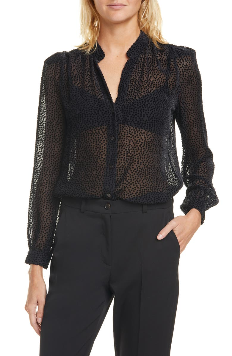 L'AGENCE Florent Flocked Dot Silk Blend Blouse, Main, color, BLACK