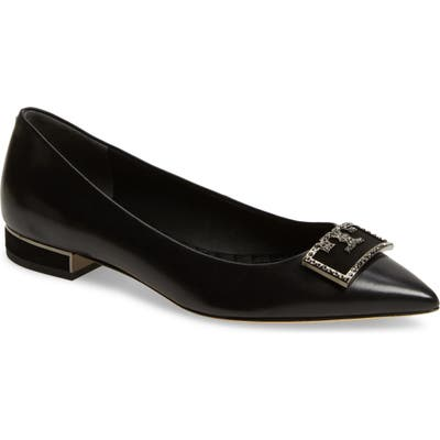 Tory Burch Gigi Crystal Logo Pointed Toe Flat, Black