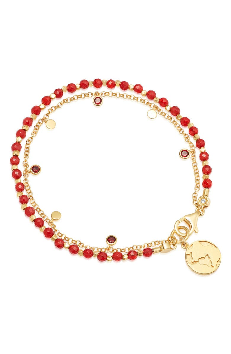 ASTLEY CLARKE Red Agate Earth Droplet Red Agate Bracelet, Main, color, RED AGATE/ YELLOW GOLD