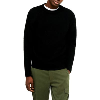 Topman Harlow Classic Fit Solid Crewneck Sweater, Black