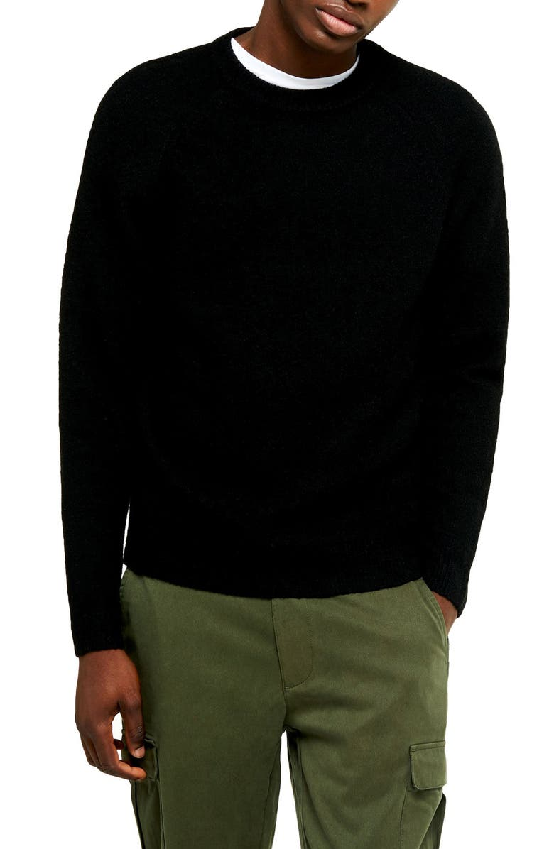 TOPMAN Harlow Classic Fit Solid Crewneck Sweater, Main, color, BLACK