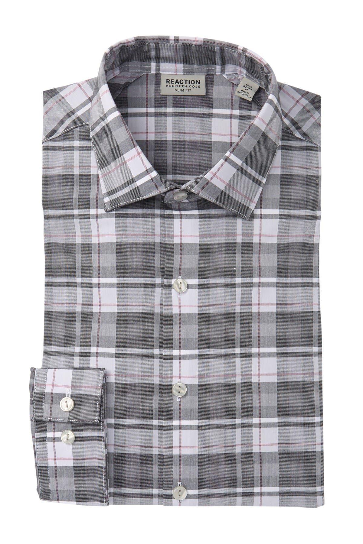 Image of Kenneth Cole Reaction Slim Fit Plaid Dress Shirt
