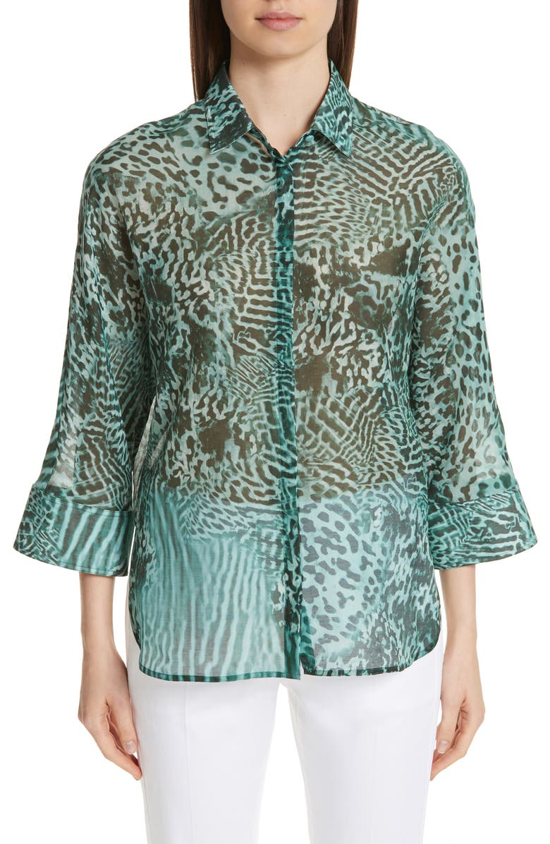 MAX MARA Prati Print Cotton & Silk Shirt, Main, color, 300