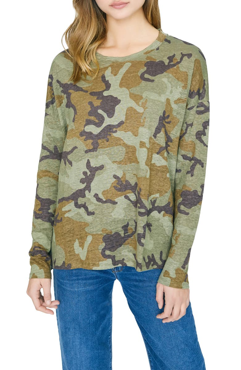 SANCTUARY Carlee Camo Long Sleeve Linen Tee, Main, color, MINERAL CAMO