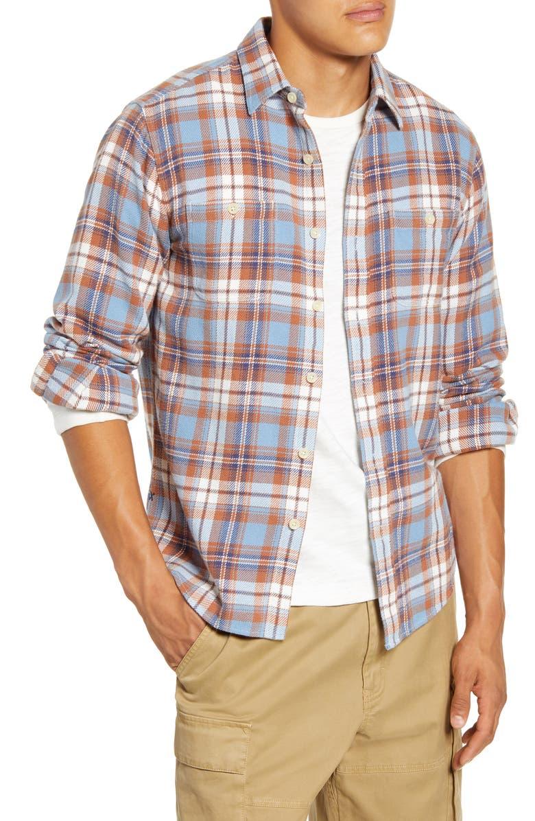 ALEX MILL Slim Fit Plaid Button-Up Shirt, Main, color, LIGHT BLUE/ TAN