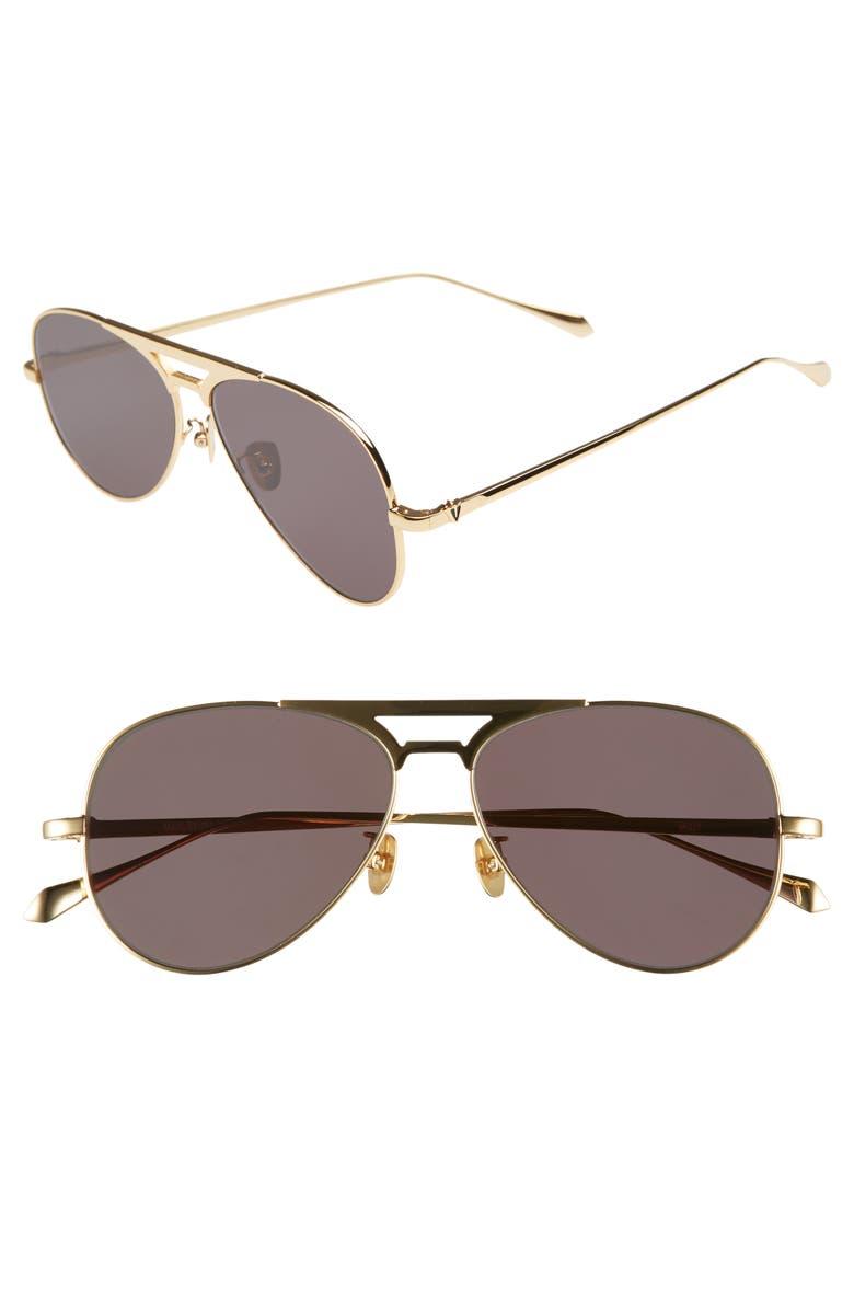 VALLEY Manubrium Zero 58mm Navigator Sunglasses, Main, color, 24K GOLD/ BLACK