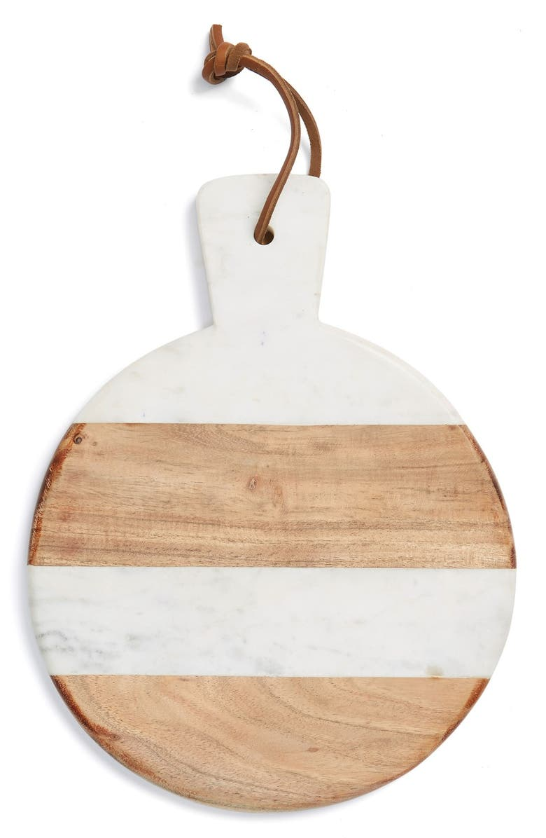 THIRSTYSTONE Marble & Wood Paddle Serving Board, Main, color, 200
