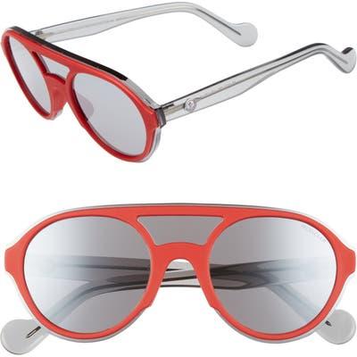 Moncler 52mm Shield Sunglasses - Shiny Red/ Smoke Mirror
