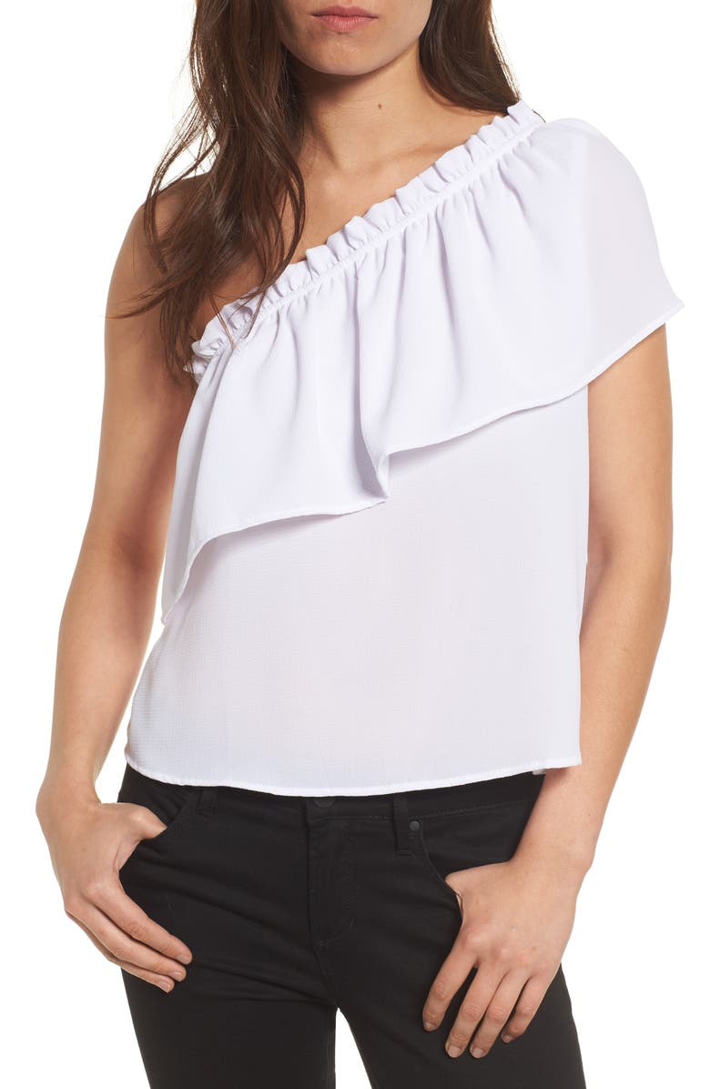 BP. One-Shoulder Ruffle Top, Main, color, 100