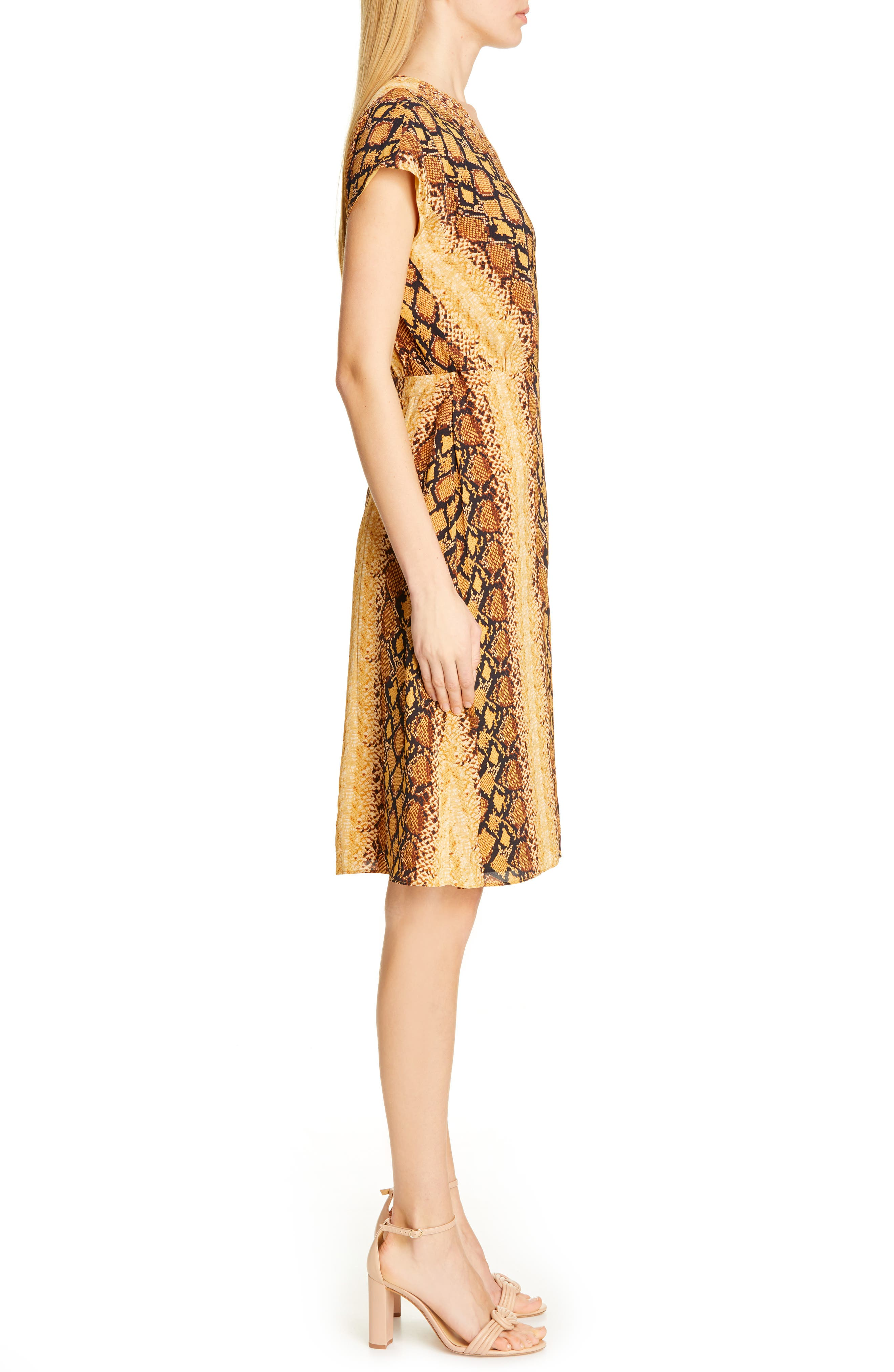 ,                             Bethwyn C Snakeskin Print Wrap Style Dress,                             Alternate thumbnail 4, color,                             720