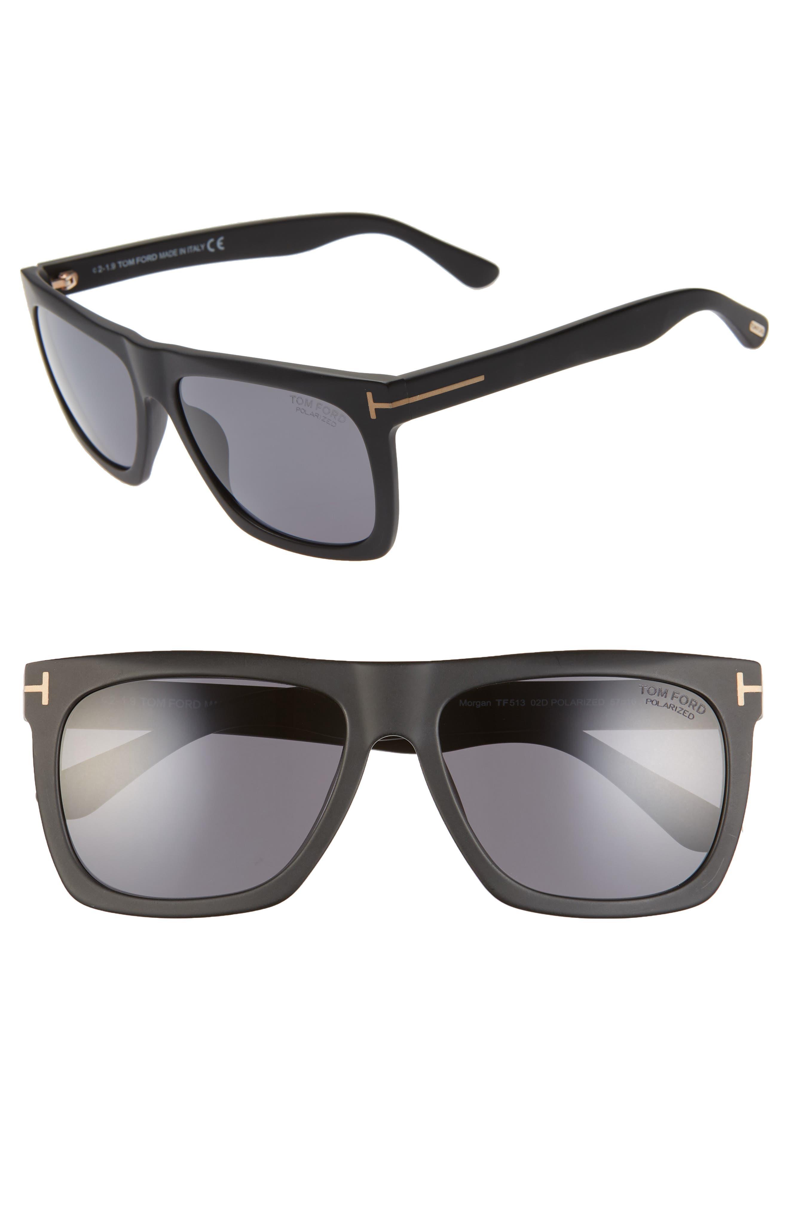 Tom Ford Sunglasses Morgan 57mm Polarized Sunglasses