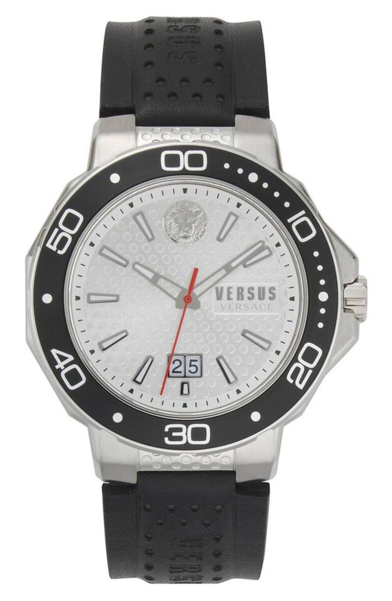VERSUS VERSACE Kalk Bay Leather Strap Watch, 44mm, Main, color, 001