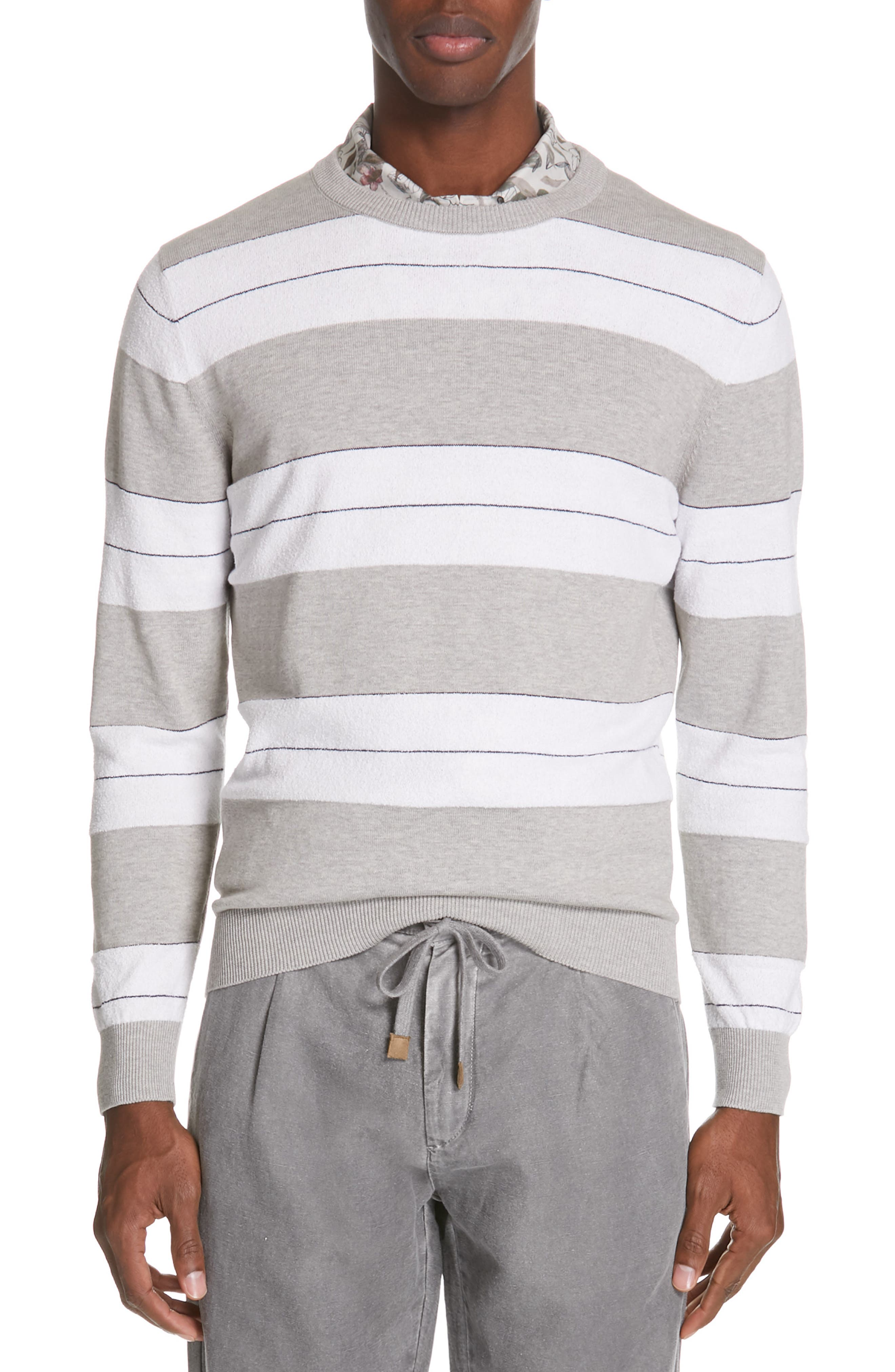 Eleventy Pullover Men's M Black Cotton  Slim Fit Striped Men's Clothing Clothing, Shoes & Accessories