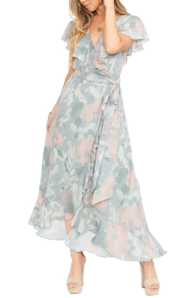 SHOW ME YOUR MUMU Adele Ruffle Maxi Dress, Main, color, SAGE I DO FLORAL