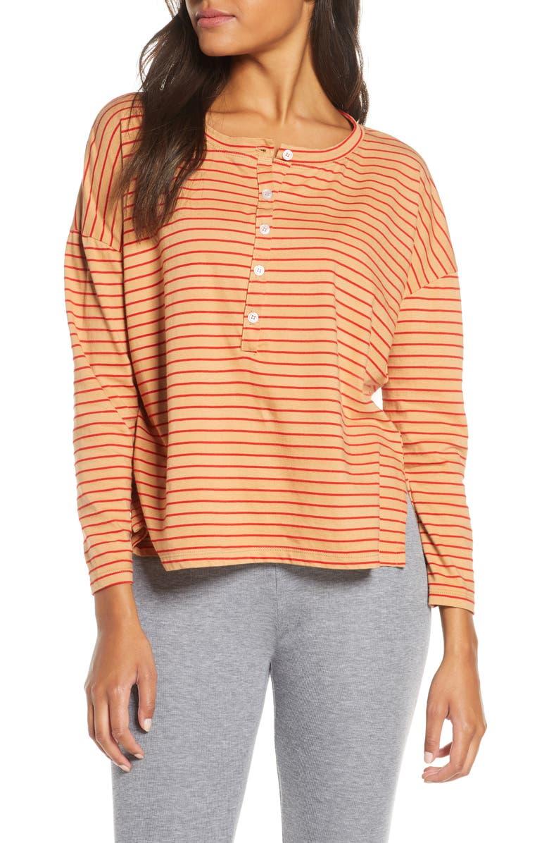 MAISON DU SOIR Henley Sleep Shirt, Main, color, RED/ NUDE STRIPE